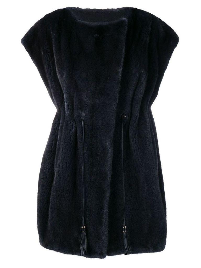 Liska sleeveless oversized coat - Blue