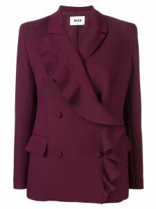 MSGM ruffle wrap coat - Purple