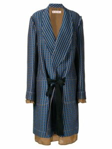 Marni single-breasted geometric coat - Blue