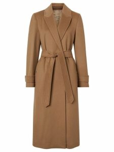 Burberry Peak Lapel Cashmere Wrap Coat - Brown