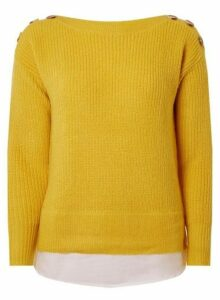 Womens Yellow Horn Effect Button 2-In-1 Jumper- Yellow, Yellow