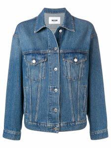 MSGM rear print denim jacket - Blue