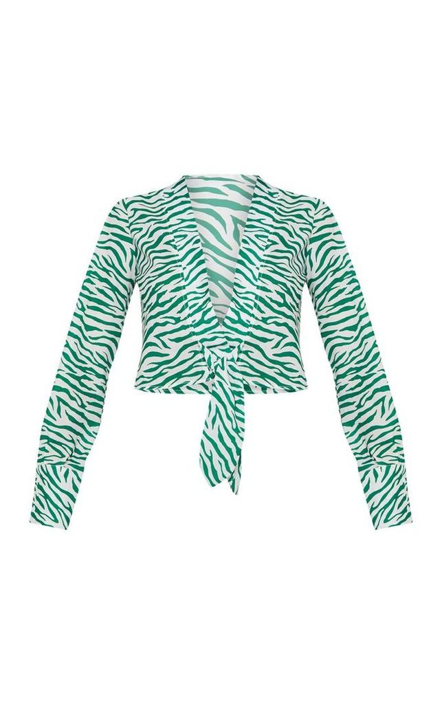 Green Zebra Printed Plunge Tie Front Top, Green