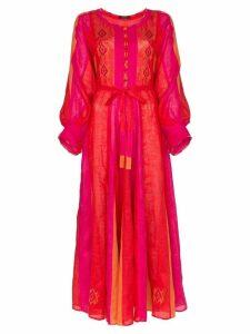 Vita Kin tie belt linen dress - Pink