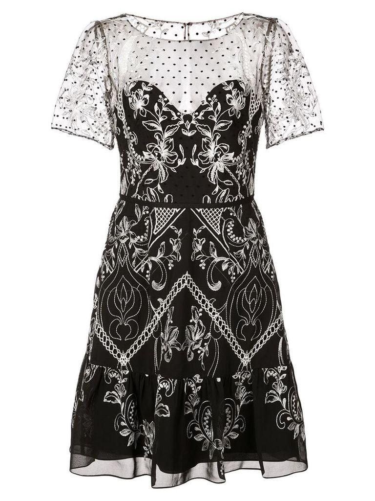 Marchesa Notte short embroidered dress - Black
