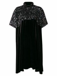 Talbot Runhof asymmetric hem sequined dress - Black