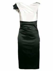 Talbot Runhof two-tone fitted dress - White