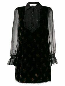 Coach muted floral print velvet dress - Black
