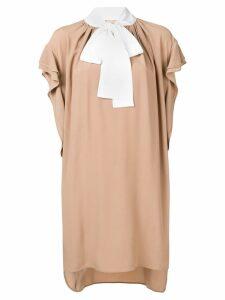 Nº21 ruffled short dress - Neutrals