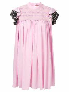 Nº21 contrast sleeves crepe dress - Pink