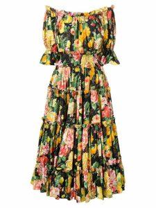 Dolce & Gabbana floral print flared dress - Yellow