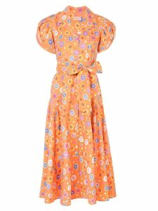Lhd floral print midi dress - Orange