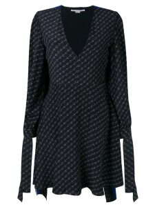 Stella McCartney logo-printed cape dress - Blue
