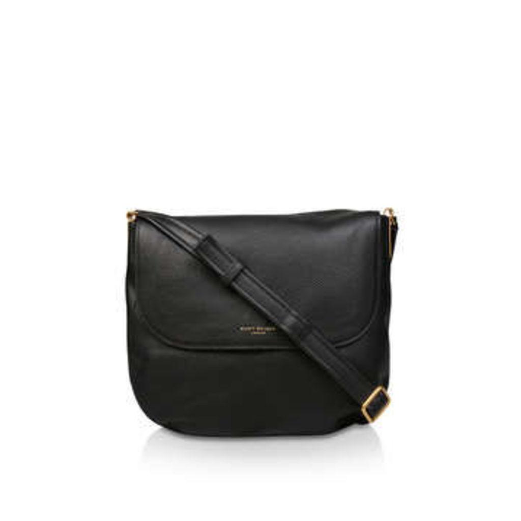 Kurt Geiger London Lthr Emma Lg Saddle - Black Leather Crossbody Bag