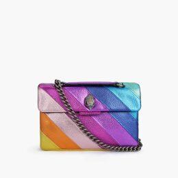 Kurt Geiger London Leather Kensington Bag - Rainbow Stripe Shoulder Bag
