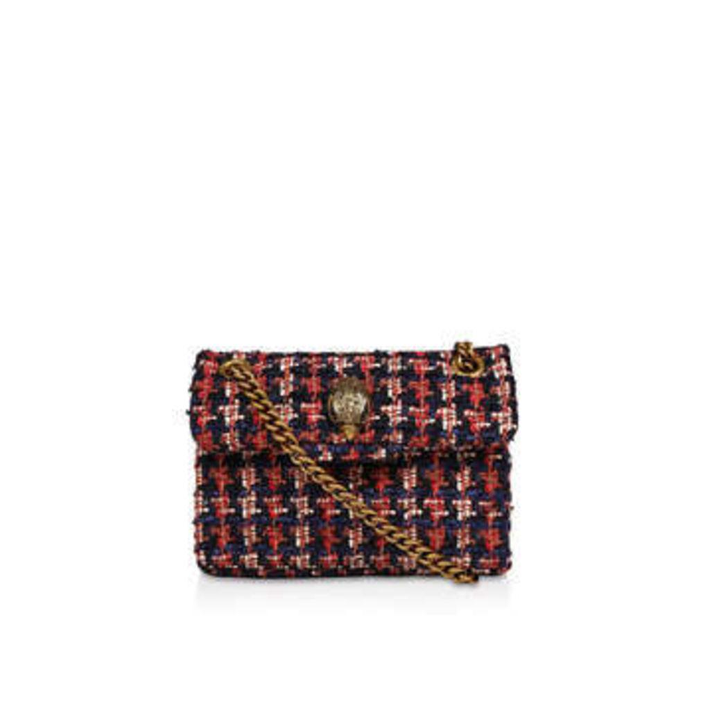Kurt Geiger London Tweed Mini Kensington X - Blue and Red Tweed Shoulder Bag