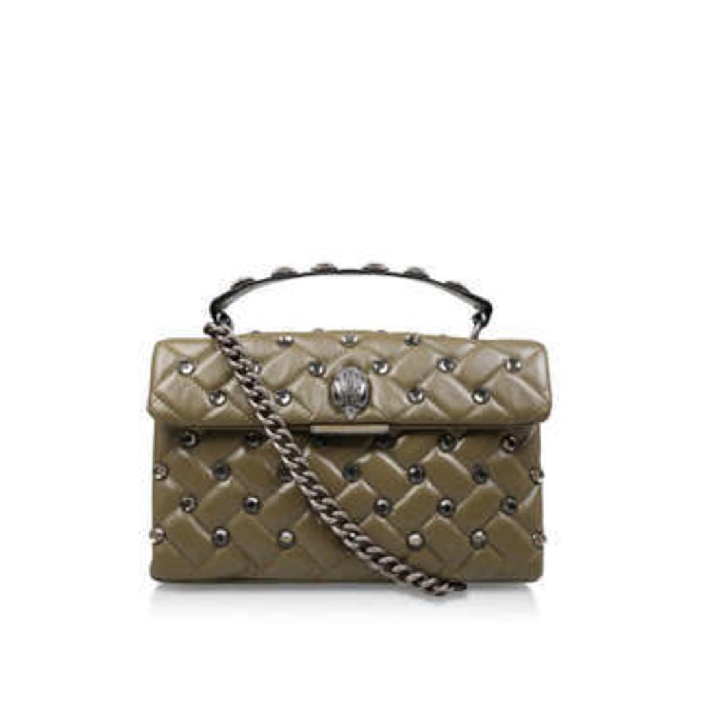 Kurt Geiger London Leather Kensington X Bag - Khaki Studded Shoulder Bag