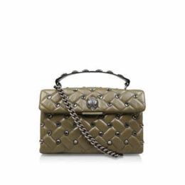 Kurt Geiger London Leather Kensington X Bag - Khaki Studded Shoulder Bag