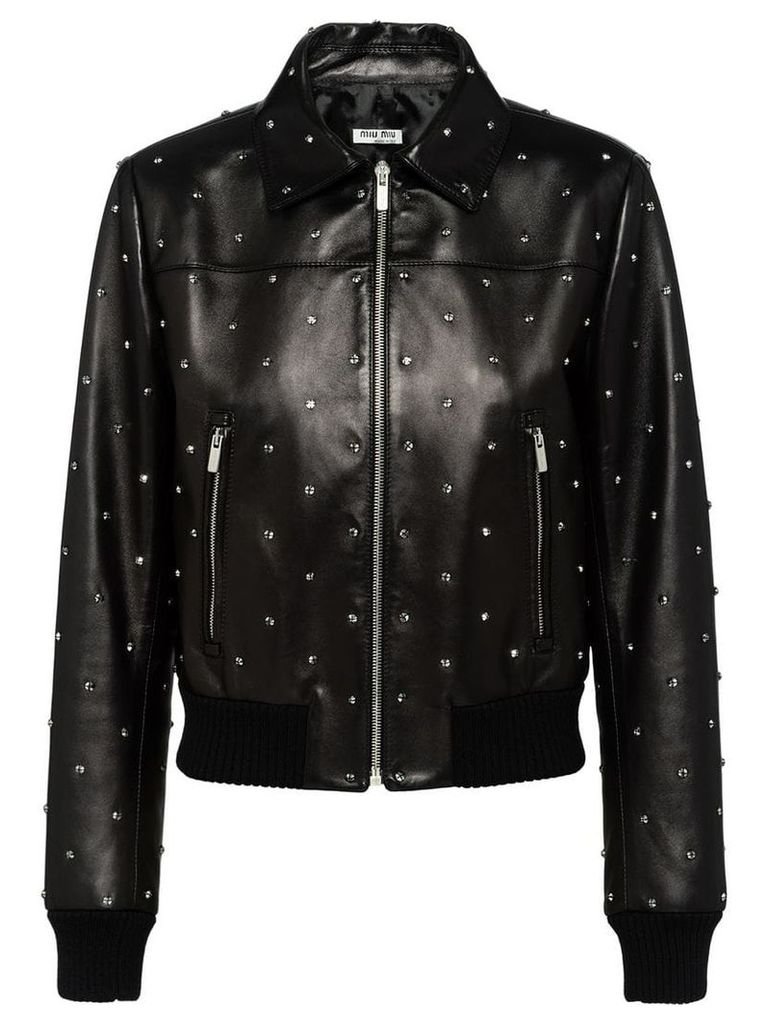 Miu Miu crystal embellished biker jacket - Black
