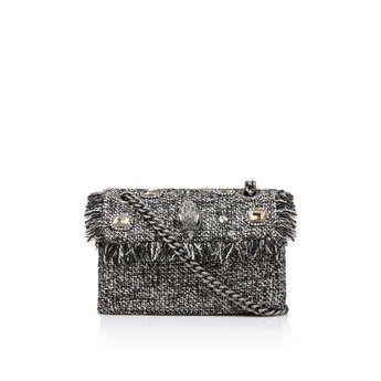Kurt Geiger London Tweed Mini Kensington X - Grey Tweed Shoulder Bag