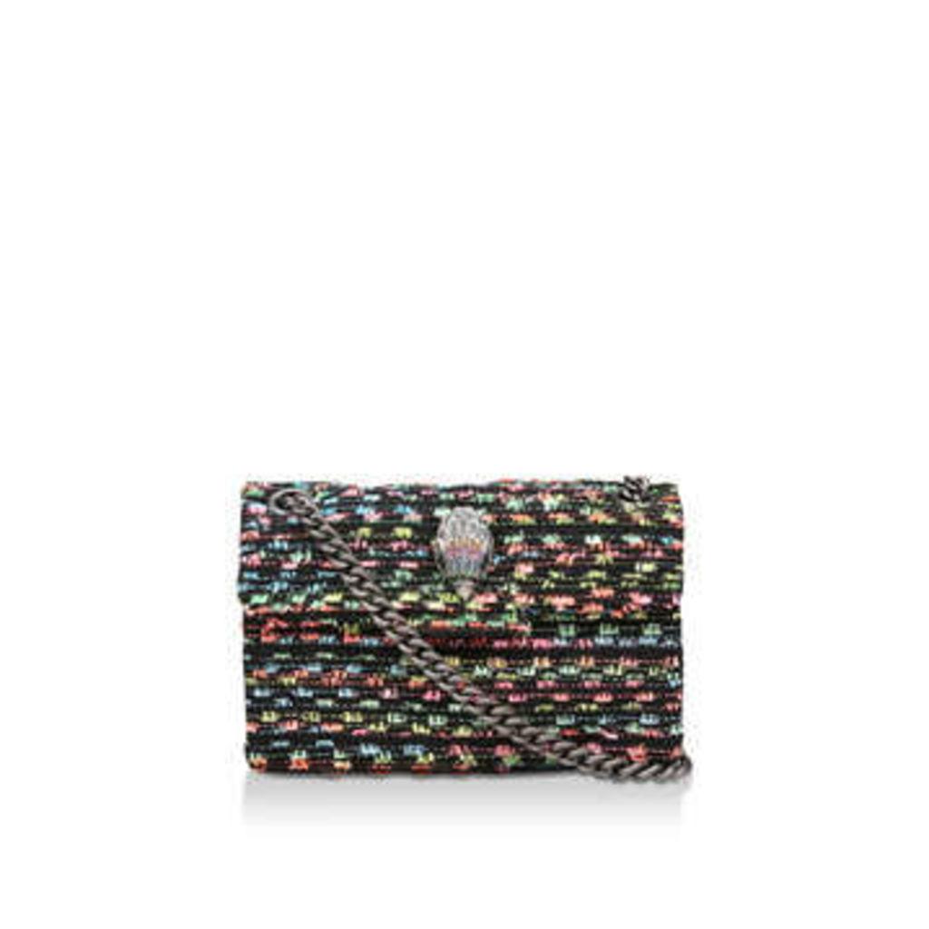 Kurt Geiger London Tweed Mini Kensington X - Black Rainbow Tweed Shoulder Bag