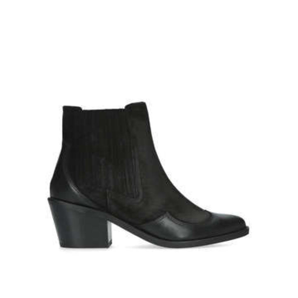 Kurt Geiger London Raiden - Black Block Heel Western Ankle Boots