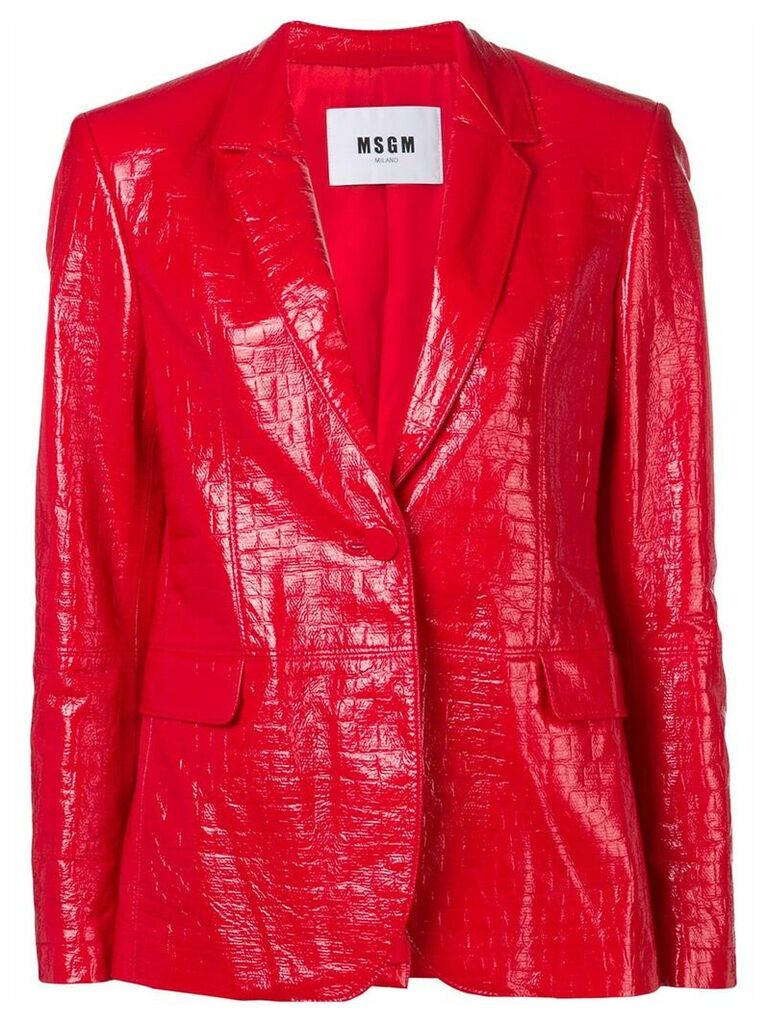 MSGM crocodile effect blazer - Red