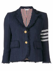 Thom Browne 4-Bar Frayed Tweed Sport Coat - Blue