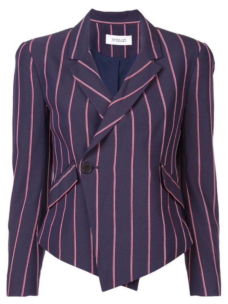 Derek Lam 10 Crosby Striped Cropped Asymmetrical Blazer - Blue