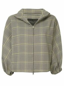 Fabiana Filippi checked cropped sleeves jacket - Brown