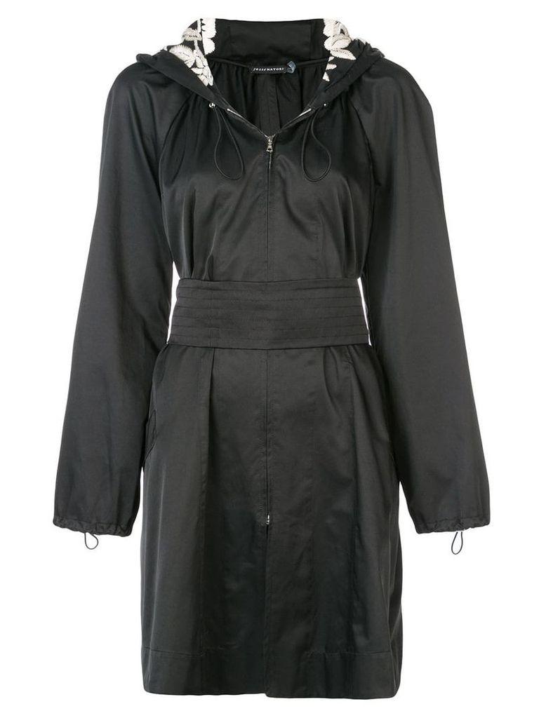 Josie Natori hooded embroidered anorak - Black