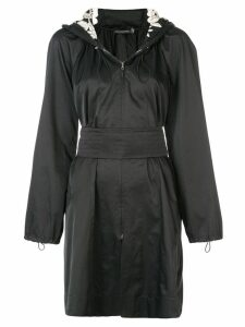 Josie Natori hooded embroidered anorak - Black