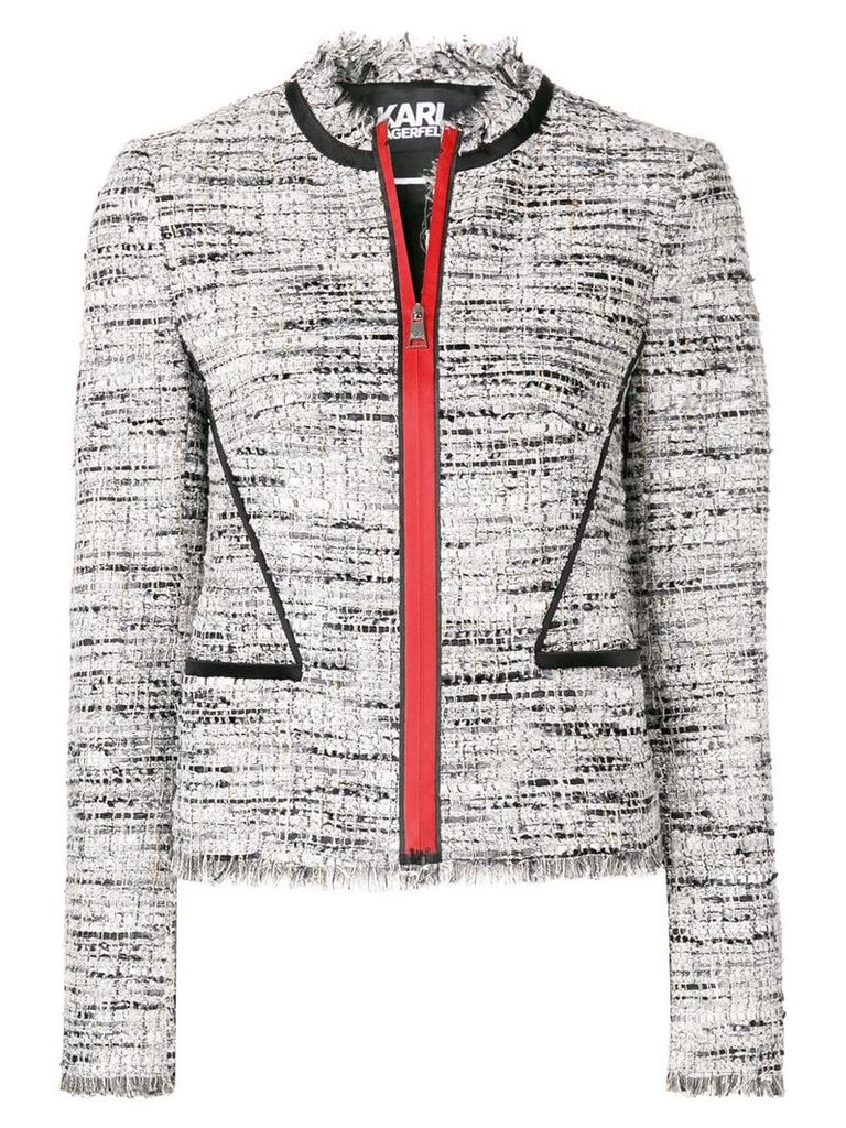 Karl Lagerfeld Boucle Jacket W/Satin Piping - Grey