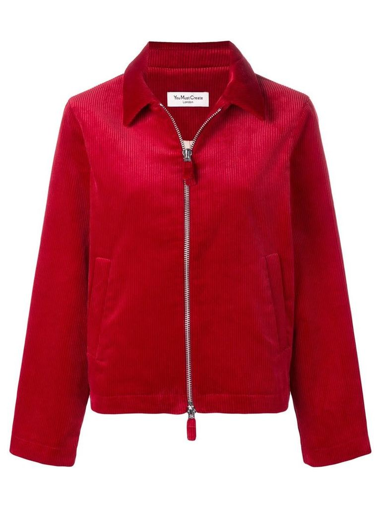 YMC zip front corduroy jacket - Red