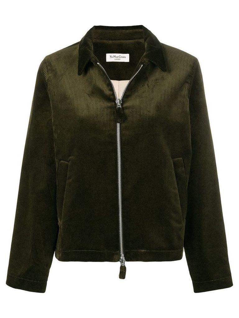 YMC zip front corduroy jacket - Green