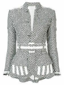 Oscar de la Renta Herringbone Tweed Jacket - White