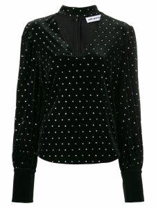 Self-Portrait crystal studded blouse - Black