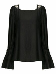 Josie Natori floral embroidered blouse - Black