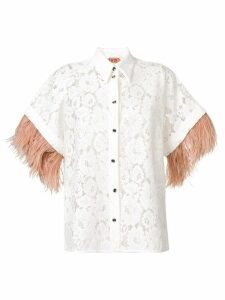 Nº21 appliqué floral lace shirt - White