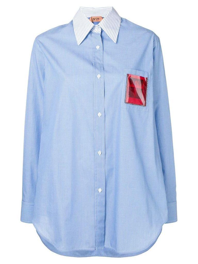 Nº21 appliqué insert striped shirt - Blue
