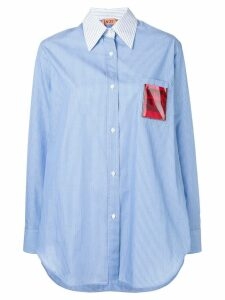 Nº21 appliqué insert striped shirt - Blue