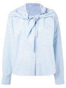 Mm6 Maison Margiela knot detail striped shirt - Blue