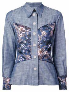 Jill Stuart floral panel chambray shirt - Blue