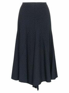 Chloé pinstripe asymmetric panelled virgin wool blend skirt - Blue