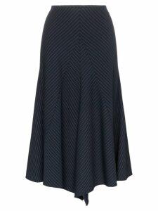 Chloé pinstripe asymmetric panelled virgin wool blend skirt - Blue