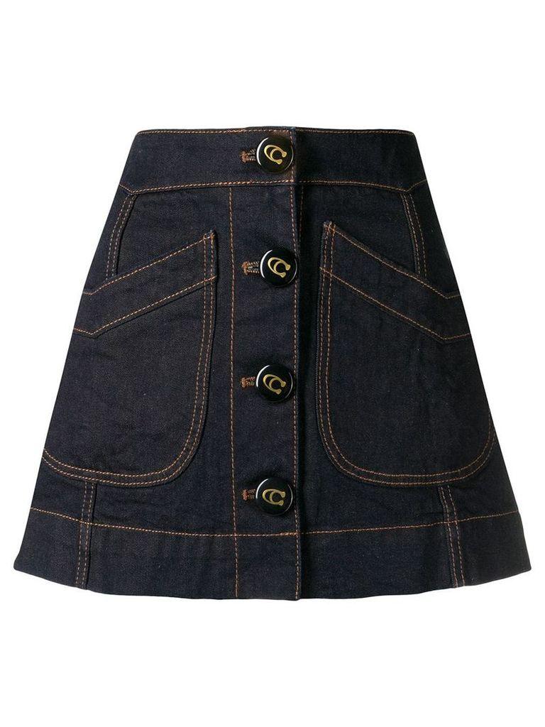 Coach denim A-line skirt - Blue