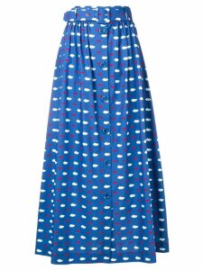 Vivetta lips and clouds printed skirt - Blue