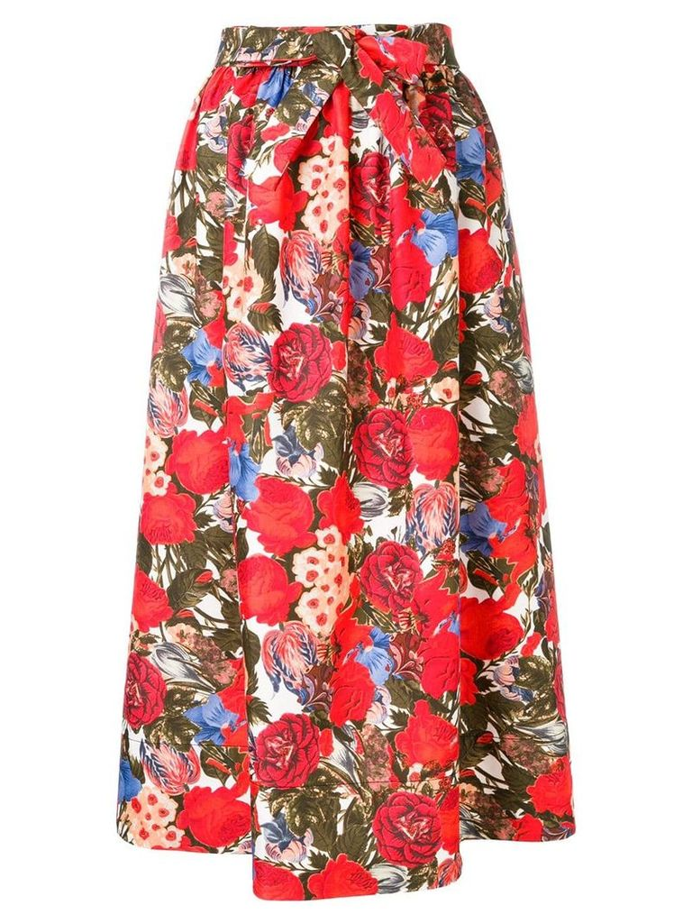Marni floral print A-line skirt - Red