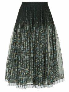 Nº21 floral A-line skirt - Black