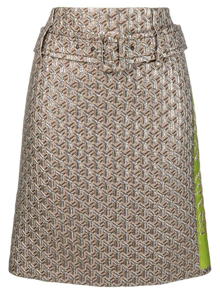Prada geometric pattern A-line skirt - Neutrals
